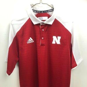 Nebraska Huskers Adidas Polo Shirt Size Medium
